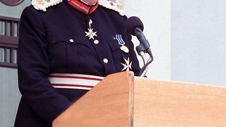 Her Majesty's Lord Leftenant of Cambridgeshire, Mr. James Crowden, addresses the attendants of the M