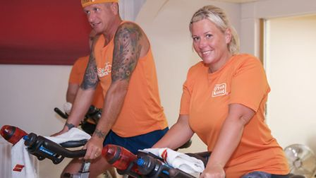 Firefighters Wayne Marshall and Tony Raine raised £2,000 for Magpas with a charity spinning challeng