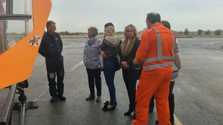 Sally Crosbie with other mothers at a special event arranged by the Magpas Air Ambulance in Cambridg