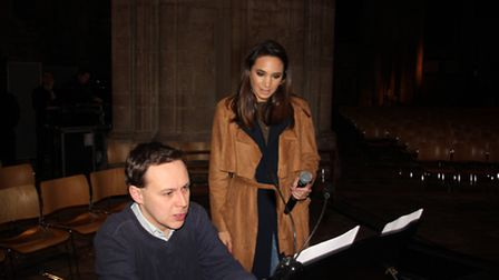 Laura Wright with accompanist Edmund Aldhouse, assistant organist, doing sound checks and rehearsing