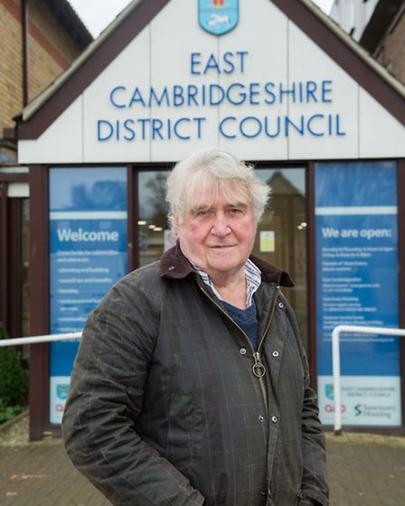 Councillor Bill Hunt age 71 outside East Cambridgeshire District Council office in Ely. Council ch