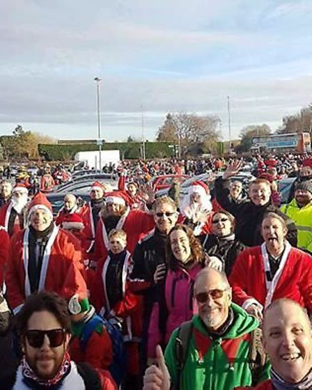 The bikers took a selfie before delivering their presents.
