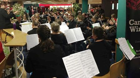 The Cambridge Wind Band performing at Addenbrooke's Hospital.