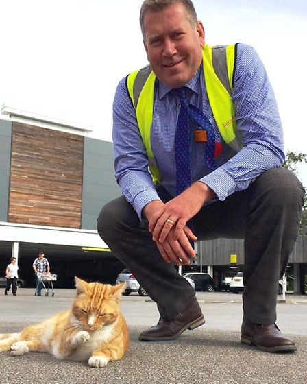 Garfield the cat meets new sainsbury's manager Simon Cox on his first day at work