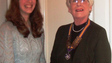 Ely Inner Wheel President Mary Rone ( right) Julia a young Ambassador for BEAT.