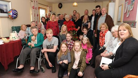 Dozens of Mary's friends and family attended a party at Vera James House, Ely - including her 17 gra