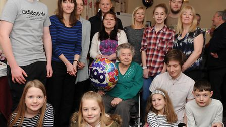 Mary Pedley and family and friends at her 100th birthday party. Photo: Rob Morris