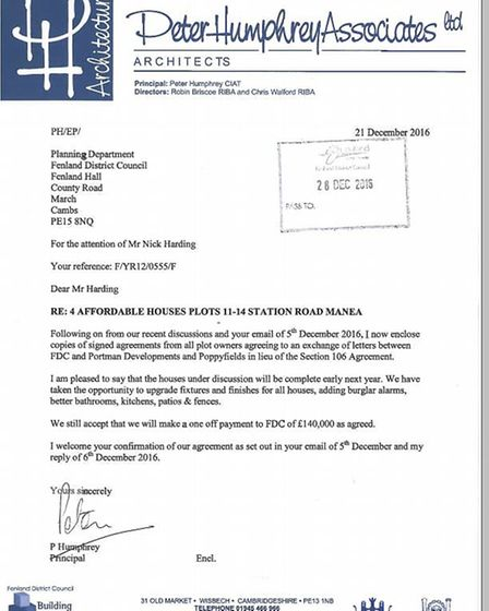 Copy of the agreement from the planning files of Fenland Council