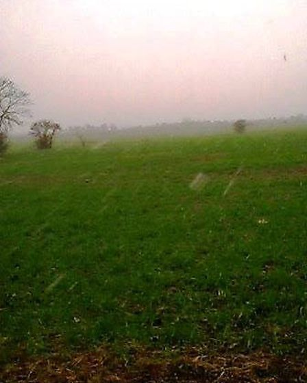 Snow falling in Chatteris this morning.
