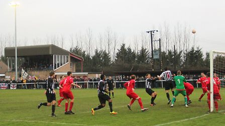 Action from Ely City's 3-0 win over Shepshed Dynamo. Photo: Gary Hooper/Football Grounds In Focus.