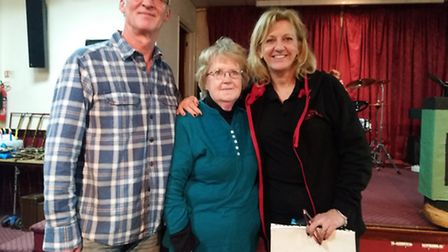 Littleport Players Rick Forward (the outgoing and now retired Set Designer), Sheila Goodall (costume