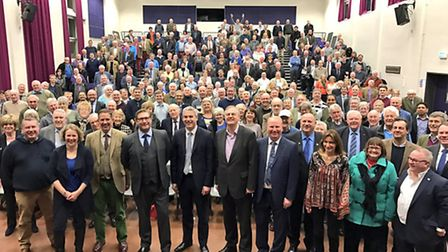 Winning candidate Cllr James Palmer (4th left) with a line up at Whittlesey that included MPs Stewar