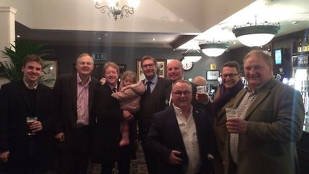 James Palmer celebrates his victory in the hustings at Whittlesey. Among those joining him was East