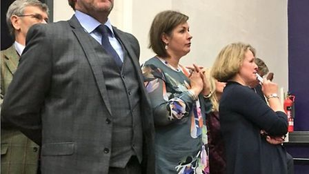 Cllr James Palmer at his selection conference with his wife and (far right) Vicky Ford MEP. Photo by