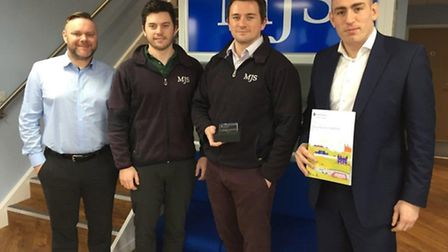 MJS celebrate being in the top 100 companies in Cambridgeshire L to R Lee Brownlow, Sean Saxby, Ben