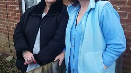 Shirley Kavanagh and Jenny Bond outside their bungalows in Eaton Estate, Wimblington, that have been
