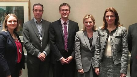 MP Lucy Frazer with Education Minister Justine Greening and other officials during the SE Cambs MP's