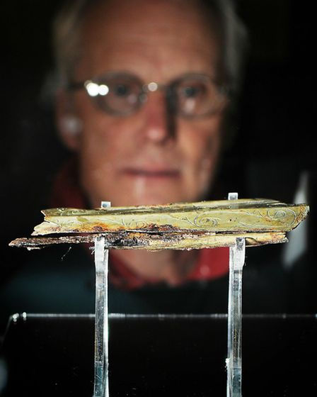 CAPTION; Photos of the 300 B.C. Wisbech Scabbard, which has returned to being displayed after a 5 ye
