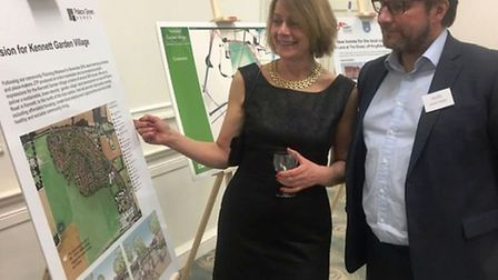 Clare San Martin, of architects JTP, with East Cambs leader Councillor James Palmer at a pre Christm