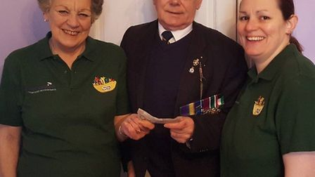 Gloria Prior, Chatteris in Bloom fundraising co-ordinator and Tina Prior, chairman, with Norman Lark