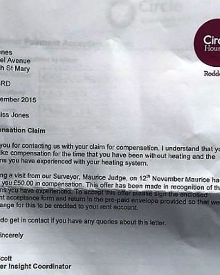 Letter from Circle Housing Roddons offering Sarah Jones £50 compensation for one-year-and-a-half wor