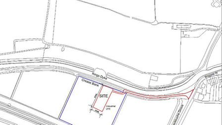 The proposed traveller's site on Crease Bank, Whittlesey.