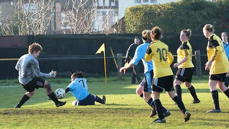 Tori Sharpe made several impressive saves in March Town's defeat to Cambridge United Ladies last wee