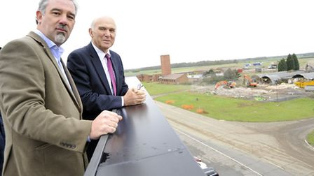 Chairman of LEP Mark Reeve, with former Business Secretary Vince Cable, who visited Alconbury Weald