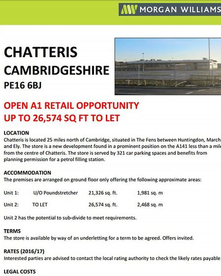 A document shows Poundstrecher could be coming to Chatteris