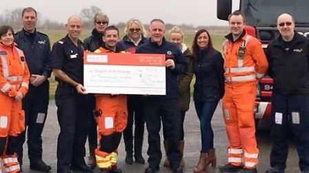 On-call firefighters from March got in a spin for charity, raising £2,100 for Magpas. PHOTO: Cambs F
