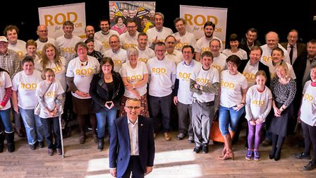 Lib Dem Mayoral candidate Rod Cantrill, front, launched his campaign at March Town Hall. PHOTO: Camb