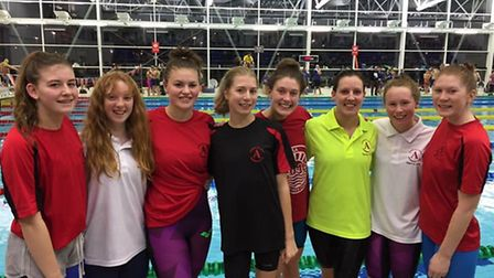Dunmow Atlantis Swimming Club's A and B girls' youth freestyle relay teams