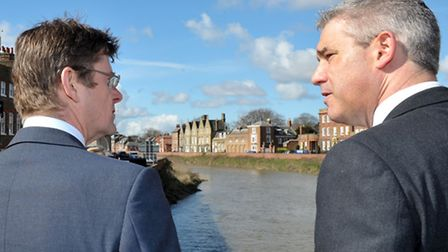 Secretary of State for Communities and Local Government Greg Clark MP (left). Visit to Wisbech in Ma