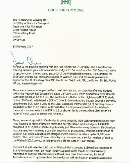 MP Steve Barclay has sent a four page letter to Chris Grayling, Secretary of State for Transport on