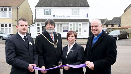 Sector manager David Downes, Deputy Mayor of Ely, Councillor Richard Hobbs, East of England Co-op fu