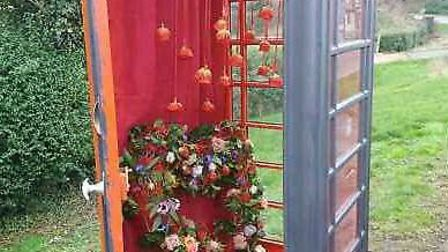 Valentine's Day celebrated in Prickwillow with their specially themed phone box. PHOTO: Enchanted Fl