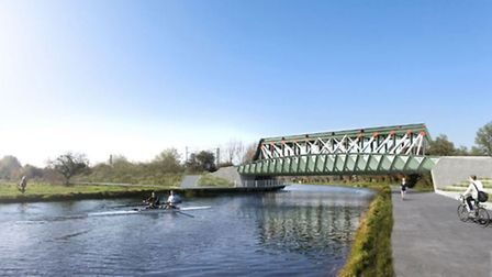 Plans to build a 45 metre foot and cycle bridge across the River Cam have been approved. PHOTO: Knig