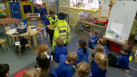 PCSO Annie Austin visits children at Swaffham Bulbeck Primary School PHOTO: East Cambs Police