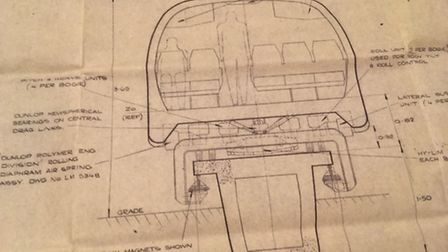 John Davis' drawing of the passenger version of the hover train that he drew just before the compan