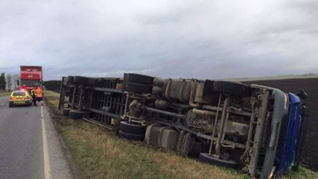 A driver had a lucky escape after their lorry overturned on the A141 between Chatteris and Warboys t
