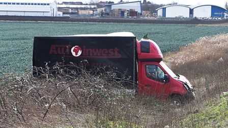 Vehicle is off the road between March and Chatteris on the A141 as Storm Doris continues its damage
