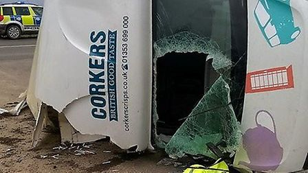 A Corkers Crisps van was badly damaged after being overturned in heavy winds in Soham today (Februar