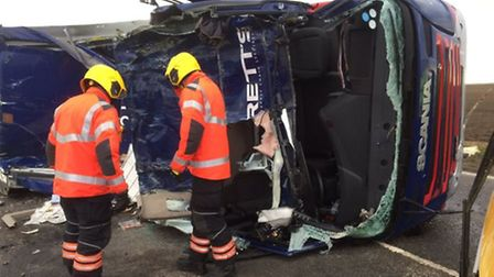 Three people were taken to hospital after a three vehicle smash on the A141 in Westry today (Februar