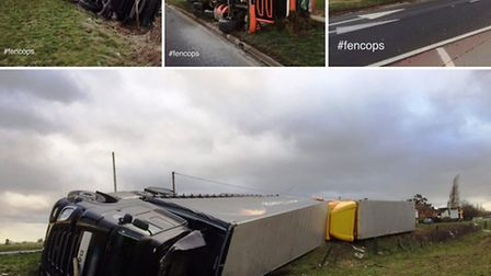 Three lorries were blown over on the A141 at Rings End on Thursday 23 at the hands of Storm Doris. P