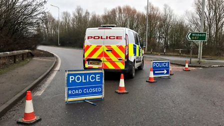 Road closed following a collision between two vehicles between Guyhirn and Wisbech