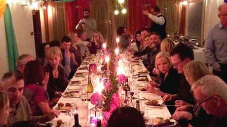 Pop up dining room. Guests enjoyed wine tasting followed by an Indian feast