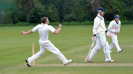 Sam Rippington, pictured here bowling against Foxton, has moved to higher-league Burwell.