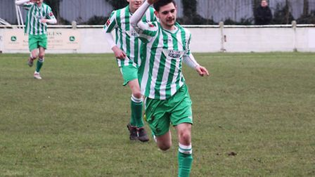 Cemal Ramadan celebrates pulling a goal back for Soham, but his goal was the only highlight as Robbi