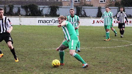 Lewis McDonald played his last game for Soham before he goes travelling. Photo: Andy Burford