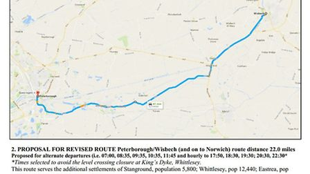 Proposed alternative route of the X1 bus from Peterborough to King's Lynn via Eastrea